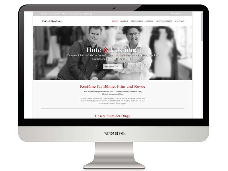Hüte und Kostüme Redesign der Website